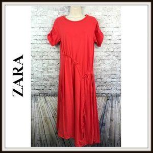 Zara Trafaluc Ruched Asymmetrical Hem Midi Dress